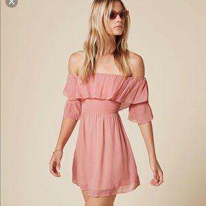 Reformation Soren off shoulder mini dress rosy 0